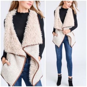 Jackets & Blazers - Beige Shearling Faux Fur Leather Trim Vest